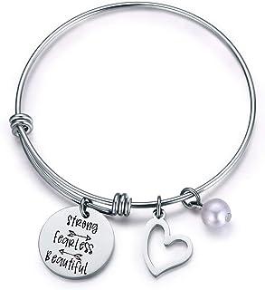 Jvvsci Strong Fearless Beautiful Bracelet Motivational Bangle Inspirational Jewelry Friends BFF Sisters Encouragement Gift