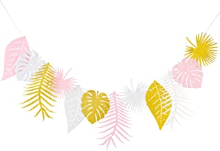 Tropical Leave Paper Garland Decoration for Wedding, Kids Party,Birthday Tropical Themed Party Window Decoration,Dessert Table,Jungle Party Backdrop.(Gold Glitter+White+Baby Pink)