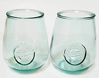 Authentic 100% Recycled Glass Drinking Glass Cup 22 ounce Wine Glasses San Miguel Glasses (Pack of 2)