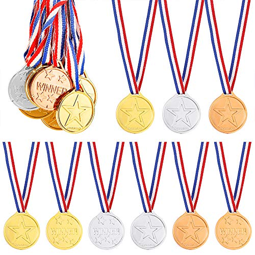 Pllieay 24 Pieces Winner Medals Gold Silver and Bronze Medals for Party Decorations and Awards