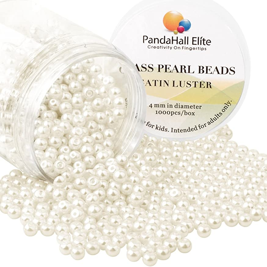 PandaHall Elite About 1000 Pcs 4mm Tiny Satin Luster Glass Pearl Bead Round Loose Spacer Beads for Jewelry Making Anti-Flash White
