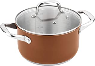 Lamart Stainless Steel Cooking Pot, 18 cm, Brown - LT1039