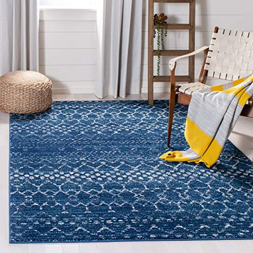 Safavieh Tulum Collection TUL249M Moroccan Boho Distressed Non-Shedding Stain Resistant Living Room Bedroom Area Rug, 3' x 5', Blue / Ivory
