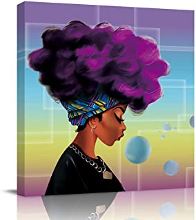 Square Canvas Wall Prints Art for Living Room Bedroom 20x20 inch - African American Fashion Women with Purple Hair Poster ...