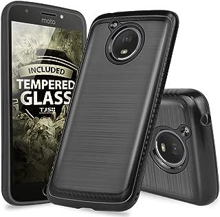 Motorola Moto E4 Plus Case, with TJS [Full Coverage Tempered Glass Screen Protector] Dual Layer Hybrid Shock Absorption Case Carbon Fiber Metallic Brush Finish Back Hard TPU Inner Layer (Black)