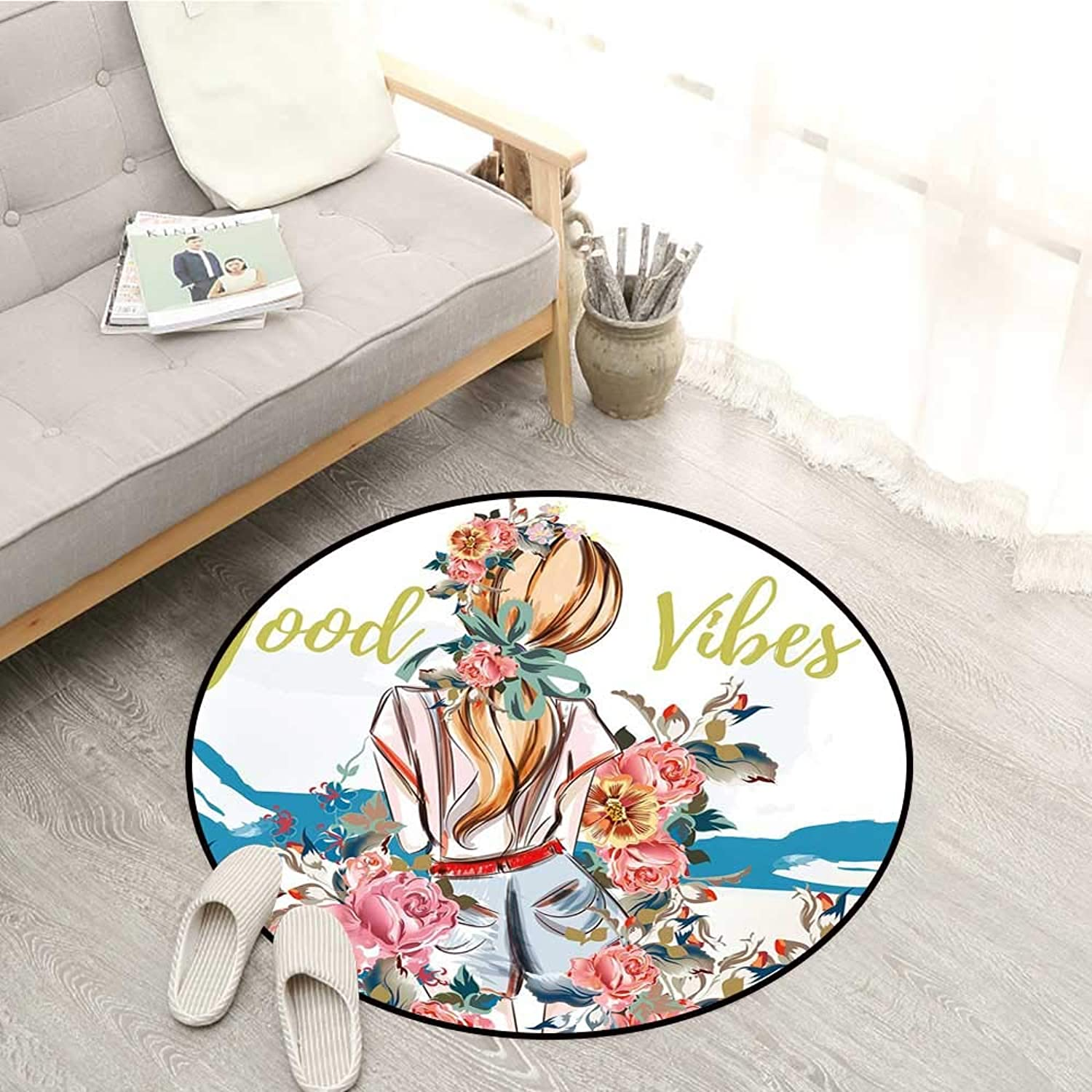 Good Vibes Carpets Young Girl Standing Back with Flourishing pinks Abstract Floral Artful Feminine Sofa Coffee Table Mat 4'3  Multicolor