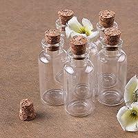 Paket umfassen: 8 Stk. Flaschen Kapazität: 10ml, Größe: 22*50 mm Farbe: klar transparent Nette Miniglasflasche, die große für Schmuck ist, verändert Kunst, Kleinkunst etc.