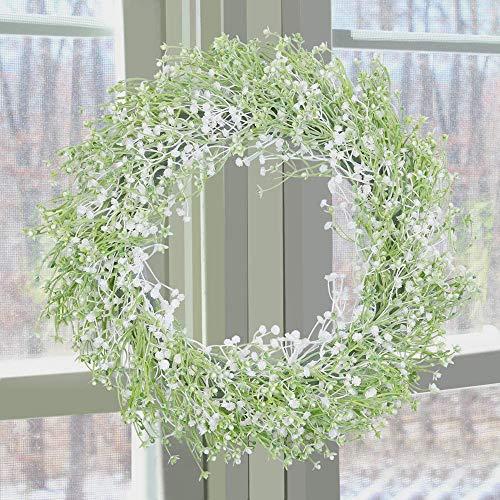 SHACOS Artificial Baby's Breath Flower Wreath for Front Door 40cm Artificial Hanging Wreath Outdoor Spring Flowers Door Wreath for Window Wall Party Wedding Decor