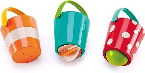 Hape Juego de Cubos Alegres; Juguetes para el Baño Tres Ruedas para Niños y Niñas Pequeños, Multicolor