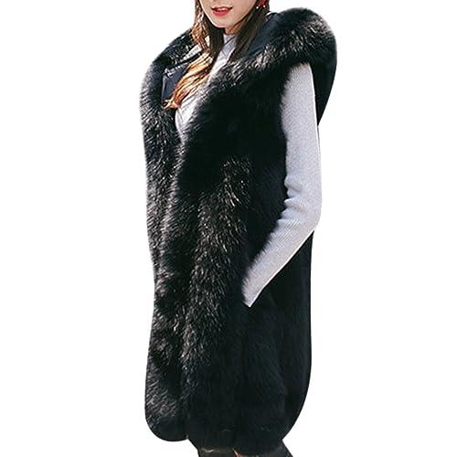 811f8c7b24b mioim Faux Fur Sleeveless Vest Waistcoat Gilet Wrap Shrug Jacket Coat  Warmer Outwear Women Hood
