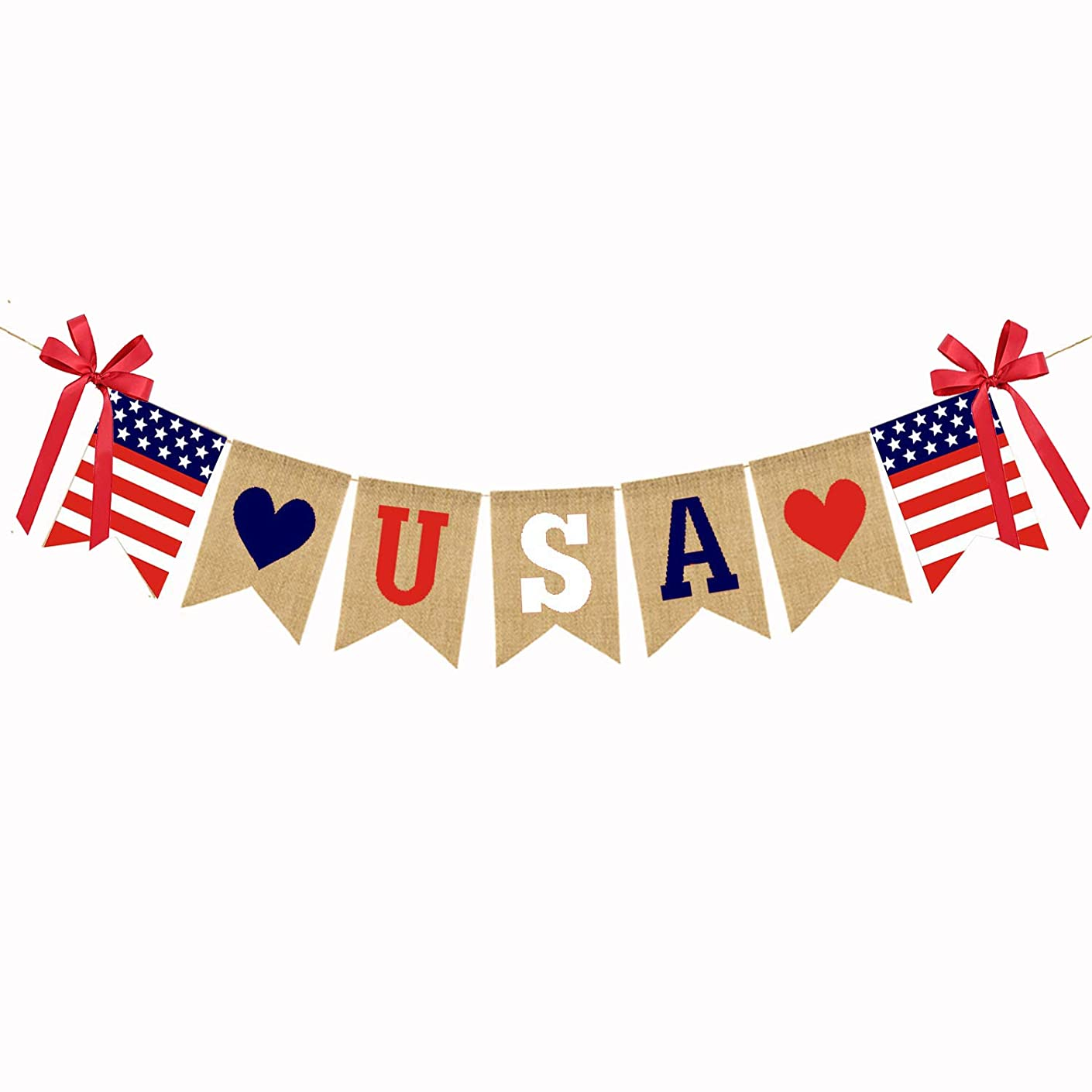 USA Banner American Independence Day 4th of July Banner Patriotic Bunting Banner American Flag Banner Red White and Blue Theme Party Supplies