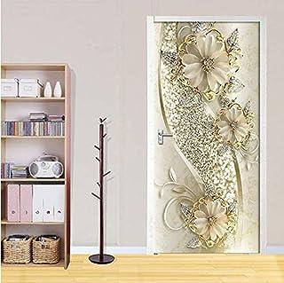 Autocollants de porte fleurs dorées Art Mural papier peint affiche autocollants de porte auto-adhésif amovible autocollant...