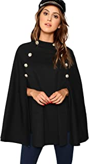 MAKEMECHIC Women's Double Button Cloak Sleeve Elegant Cape Mock Poncho Classy Coat