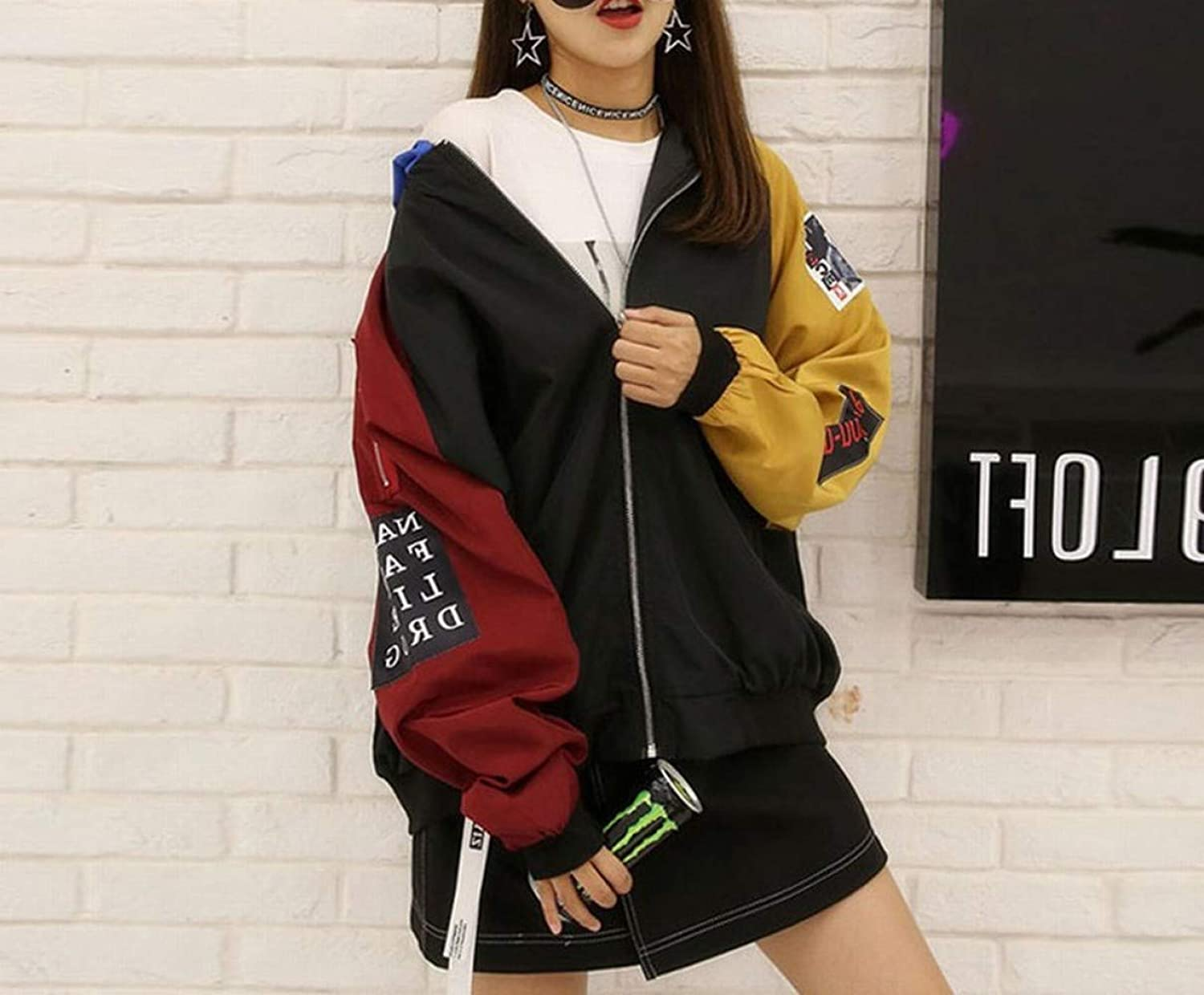 Coat Japanese Autumn and Winter Loose Contrast color Baseball Uniform Hooded Student Jacket Women's Clothing,Black,M DEED
