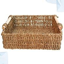 SCDZS Kosz słomkowy drewniany uchwyt stół prosty kosz do przechowywania drobiazgów kosmetyki klucz