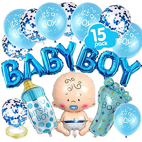 VDSOW Babyparty Deko, Blau Gender Reveal Party Dekoration mit Jungen Ballon/Baby Boy Ballon Banner/Konfetti Luftballons/es ist EIN Junge Luftballons/Babyflasche, Fußförmige Helium Folienballon/Band