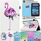 Kindle Fire HD 7 Case,Artyond PU Leather Card Slot [Anti-Slip Stripe] Smart Magnetic Cover Soft Micro Fiber Case for All Amazon Kindle Fire HD7 5th Gen/7th Gen,2015/2017 Release (Flamingo)