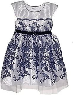 Girls Sleeveless Party Dress (3T, White/Navy)
