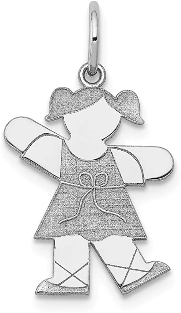 14k White Gold Kid Pendant Charm Necklace Baby Fine Jewelry For Women Gifts For Her