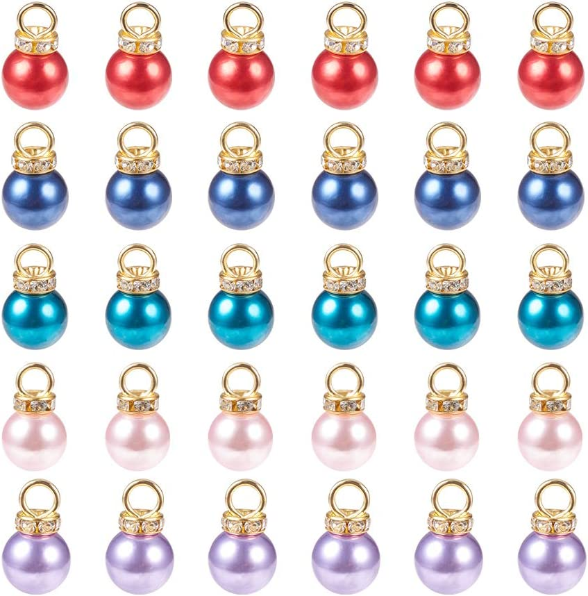 PH PandaHall 50pcs 5 Baltimore Mall Color Charms Pendants Miami Mall Faux Pearl Imitation