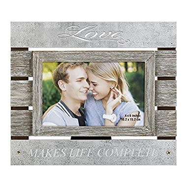 4x6 Rustic Picture Frames Made of Wood and High Definition Glass - Ready to Stand or Hang with Built in Easel photo frames Beige