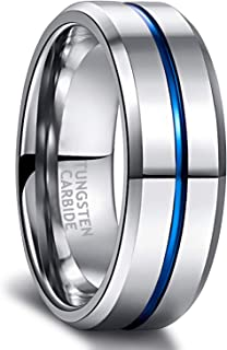 Greenpod Mens Tungsten Ring Wedding Band 8mm Engraved I Love You Thin Blue/Rose Gold/Black Centre Groove Comfort Fit Size ...