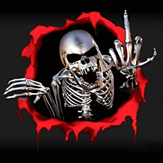 3D Car Sticker Metal Skeleton Skull Bullet Hole Cool Stickers Auto Automobile Decals Car Styling Motorcycle Covers