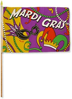 ALBATROS 12 inch x 18 inch (6 Pack) Mardi Gras Party Stick Flag with Wood Staff for Home and Parades, Official Party, All Weather Indoors Outdoors