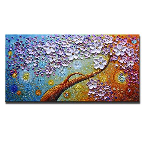 Asdam Art-(100% Mano Dipinta 3D Fiori Dipinti ad Olio su Tela Un Muro di Arte Astratta Decorazione Allungata e incastrato Grafica per Salotto, Camera da Letto(24x48 inch)