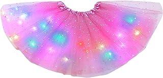 Hifot Mädchen Tutu Rock LED, Tüllrock Kinder Ballettrock Pailletten Led Lichter Kleid Tutu für kleine Mädchen, Prinzessin Tanzrock tanzkleid