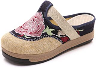 Inlefen Embroidered shoes Women's Chinese Embroidery Summer Comfortable Sandals