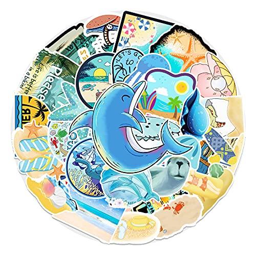 XIAMU Dibujos animados Departamento del océano Diy Personalidad facturada a mano equipaje scooter decoración del coche pegatinas 50 piezas