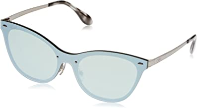 RAY-BAN Women's RB3580N Cat Eye Steel Sunglasses, Brushed Silver/Dark Green Mirror Silver, 58 mm