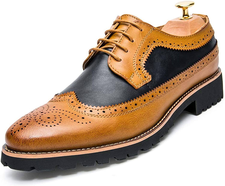 Herren Leder Brogue Schuhe Schnürschuhe geschnitzt Mode Kleid Schuhe Klassische Klassische Vintage Business Casual Schuhe Komfortable Slip  schneller Versand weltweit