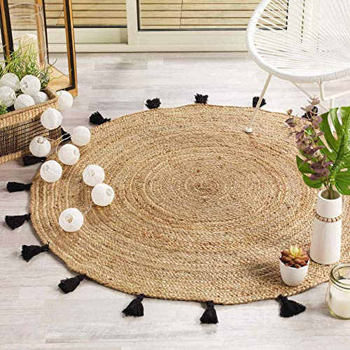 tapis deco rond (0) 120 cm jute uni+pompons shira noir