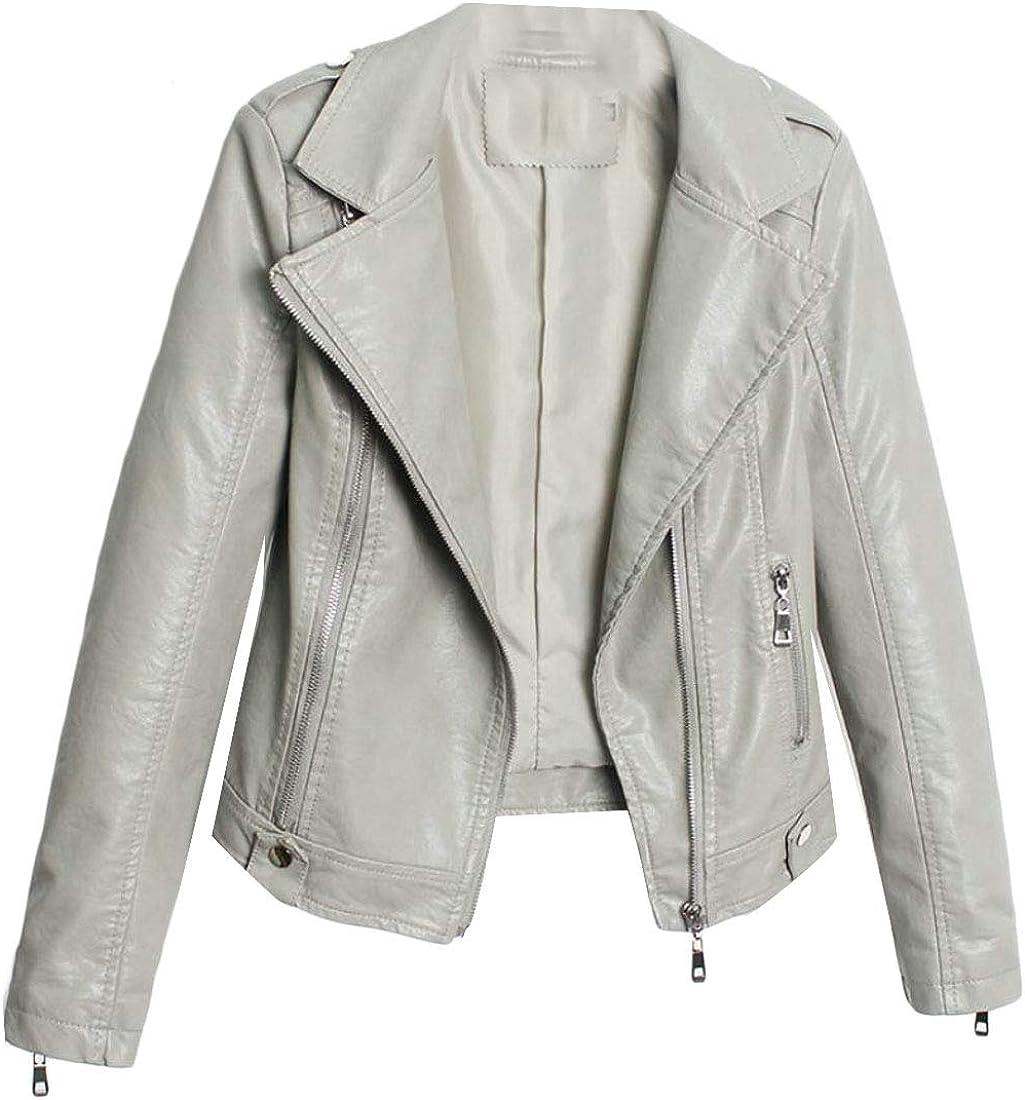 XiaoTianXinWomen XTX Womens Faux Leather Zipper Autumn Winter Lapel Outside Accept Waist Jacket Pea Green M