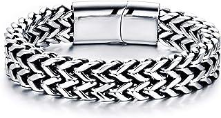GW Stainless Steel Bracelet for Men Teens Braided Bracelets Unisex Bangle Cuff Gift 19-22cm
