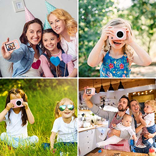 Newest Kids Digital Camera HD Dual Video Cameras Christmas Birthday Gifts for Girls Age 3-12, Portable Toy for 3 4 5 6 7 8 Year Old Girl with Panda Protective Case and 32GB SD Card - Pink