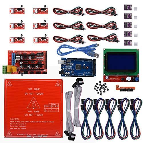 Reprap Ramps 1.4 + m e g a 2560 R3+Heatbed MK2B +12864 LCD Controller+ DRV8825+Mechanical Endstop For 3D Printer Diy Kit Heated Bed