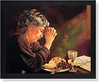Gratitude Old Lady Praying at Dinner Table Daily Bread Woman Religious Wall Picture Black Framed Art Print