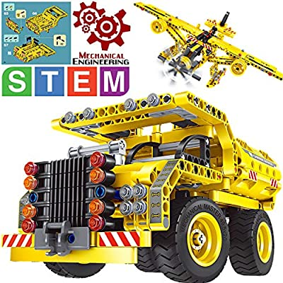 Gili STEM Building Toy for Boys 8-12 - Dump Truck or Airplane 2 in 1 Construction Engineering Kit (361pcs) Best Gift for Kids Age 6 7 8 9 10 11 12+ Years Old from GILI