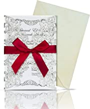 YoTelim 25PCS Bling Wedding Invitations Cards Hollow with Inner Sheets and Ribbons for Bial Shower Birthday Baby Shower Wedding Invites(Slivery Glitter,Pack of 25)