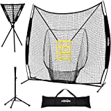 Zupapa 7x7 Feet Baseball Softball Hitting Pitching Net Tee Caddy Set with Strike Zone, Baseball Backstop Practice Net for Pitching Batting Catching for All Skill Levels (Black)