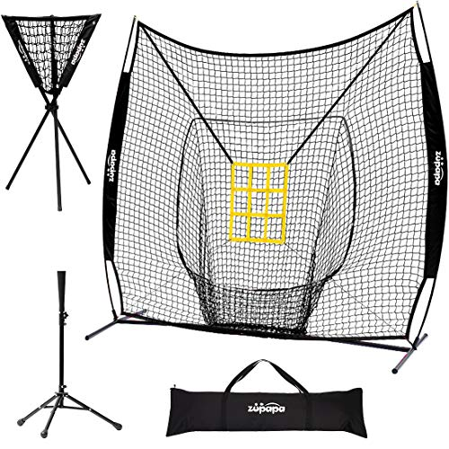 Zupapa 7x7 Feet Baseball Softball Hitting Pitching Net Tee Caddy Set with Strike Zone, Baseball Backstop Practice Net for Pitching Batting Catching for All Skill Levels (Blue)
