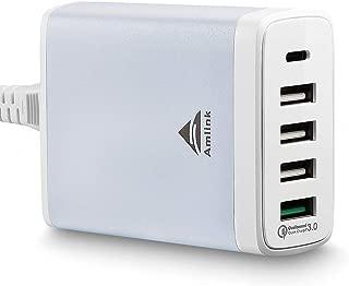 Multi Port USB Desktop Charger, AMLINK 40W 5 Port USB C Desktop Charging Station with Quick Charge 3.0 for Home, Office,Travel