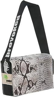 HAB & GUT Messenger Bag Mini PROVOKED mit Leder Python & LKW-Plane: schwarz 26x21 Krokomuster Schlangenoptik