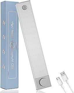 Lampe de Placard 128 LED, Sans Fil Rechargeable Lumière de Placard avec Détecteur de Mouvement, 3 Modes et Luminosité Ajus...