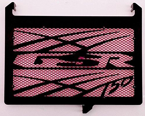 cache radiateur/grille de radiateur 750 GSR design Tsunami noir carbone satiné + grillage anti gravillon rouge