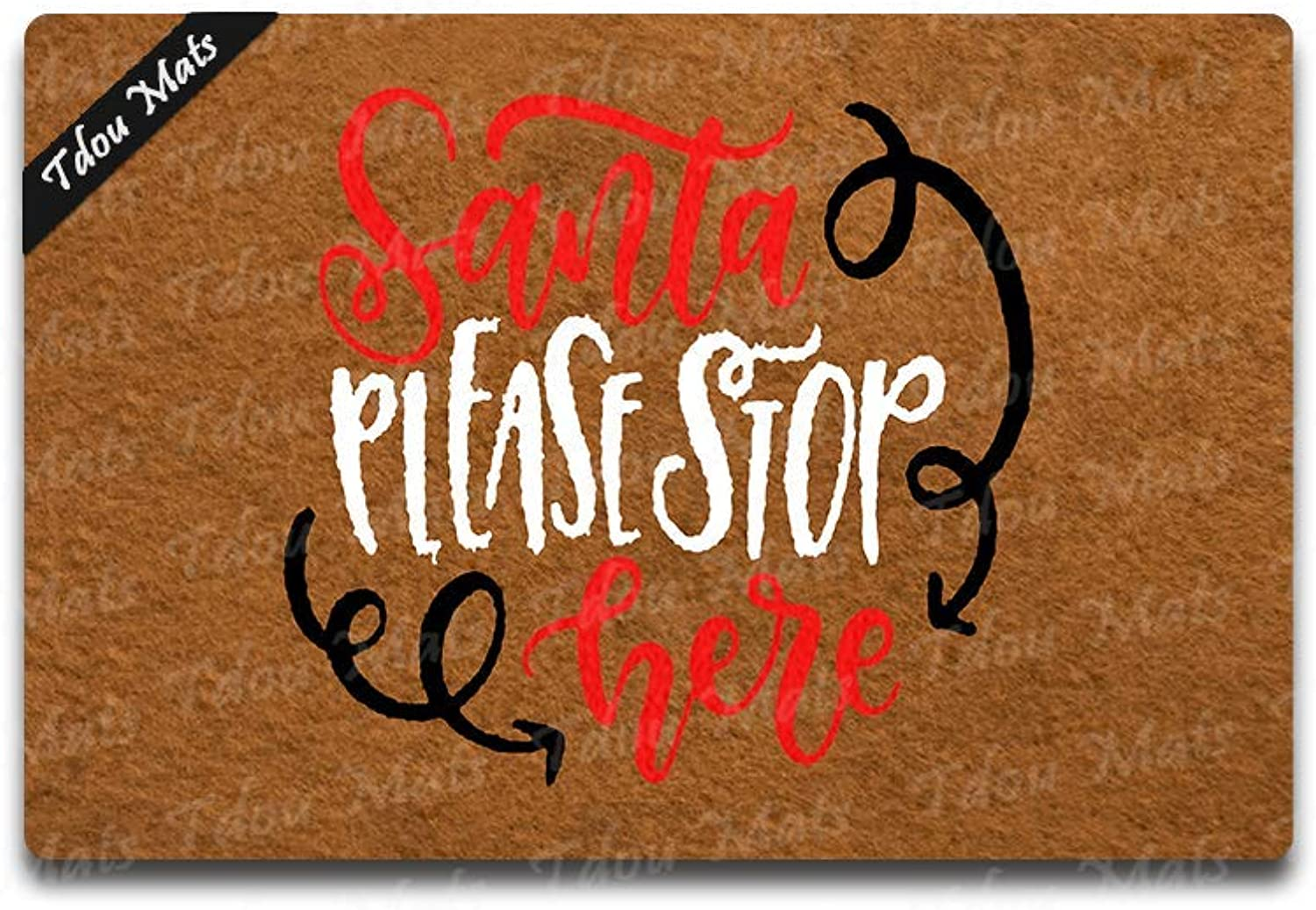 Tdou Santa Please Stop Here Doormat Funny Doormat Christmas Decor Winter Decor Home Decor Welcome Mat Housewarming Gift23.6 x 15.7
