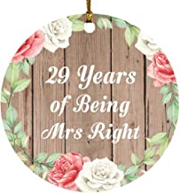 29th Anniversary 29 Years of Being Mrs Right - Circle Wood Ornament B Christmas Tree Hanging Decor - for Wife Husband Wo-M...